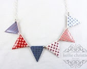 Bunting Necklace - Nautical - Red Blue White - Made to Order