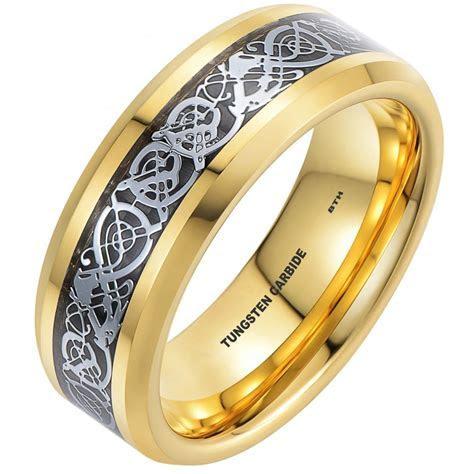 Silver Celtic Dragon Inlay Gold Tone Tungsten Wedding Band