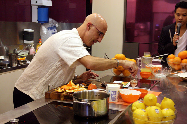 Chef Robert Danhi layering the parfait