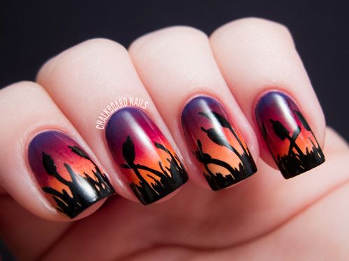 http://www.alllacqueredup.com/2013/04/cattails-sunset-ombre-gradient-nail-art-chalkboard-nails.html