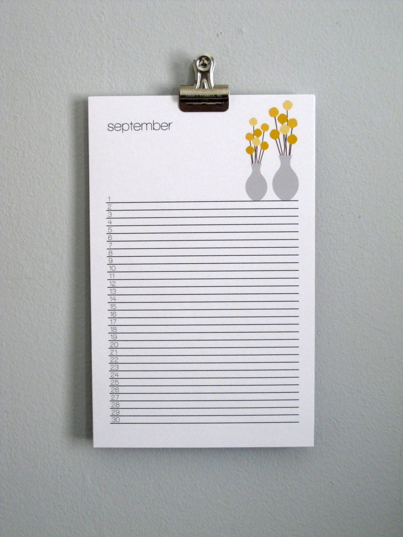 Illustrated Perpetual Wall Calendar