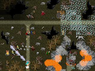 Adventurers battle the dark fiends that reside in Forgotten Oak of the graphical mud, Wyvern.