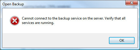 Cannot connect to backup service