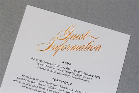 Wedding Guest Information Cards   What to Include   Foil