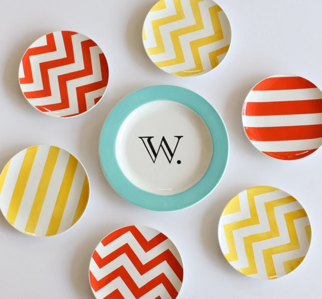 Custom Wall Display Includes Monogram Plate & Six Small Plates as Featured at HGTV