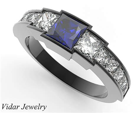 black gold blue sapphire wedding ring   women vidar