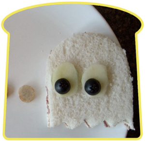Pac-Man Ghost Shaped Sandwich. Templates included.
