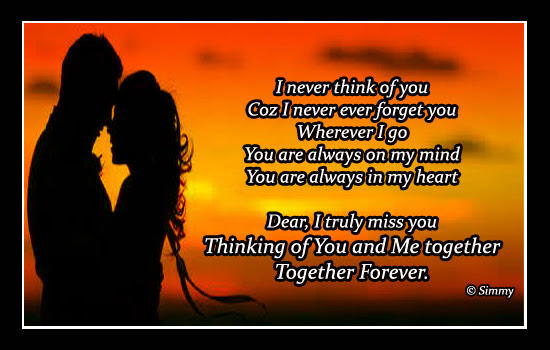 Thinking Of You And Me Together Free Thinking Of You Ecards 123