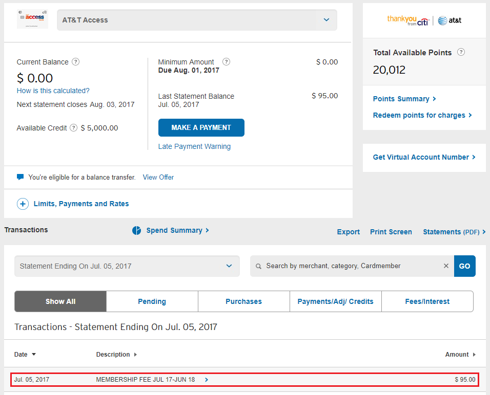 Citi AT&T Access More Credit Card: 11,11 Bonus Thank You Points