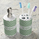 Personalize: Green Gingham Check Pattern Toothbrush Holders