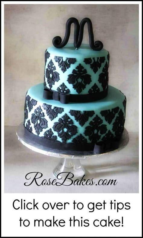 Tiffany Blue & Black Damask Baby Shower Cake   Rose Bakes