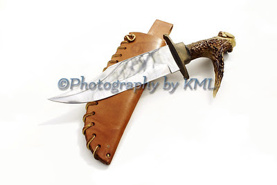 hunting knife with a deer antler handle