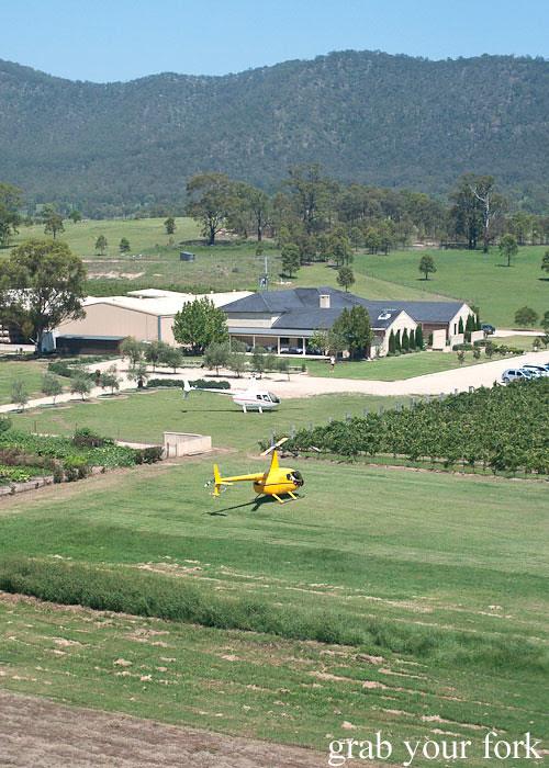 Helicopter landing at Margan Wines in Broke, Hunter Valley