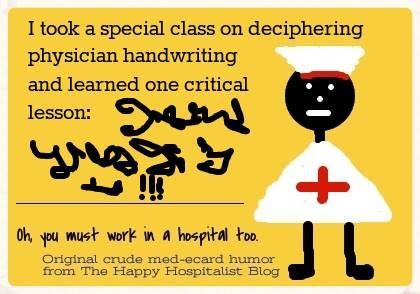 Physician handwriting ecard humor photo