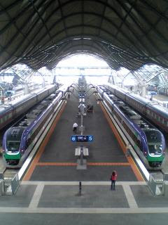 Melbourne's Southern Cross Station with two VLocity high speed country trains