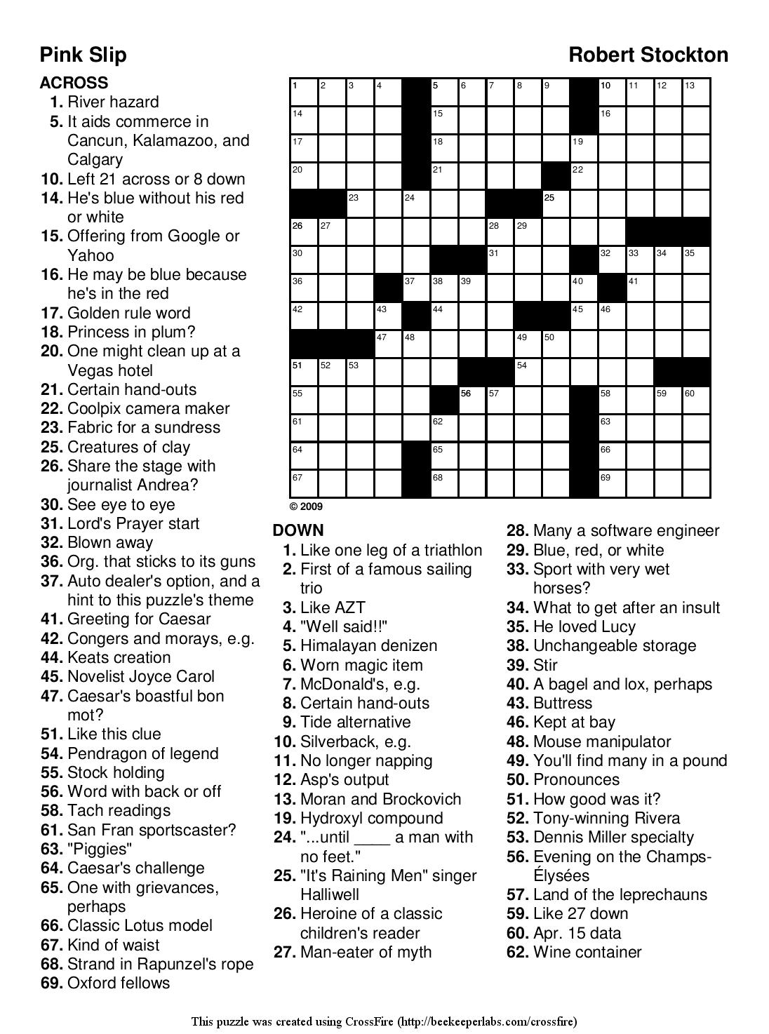 Easy printable crossword puzzels - InfoCap Ltd.