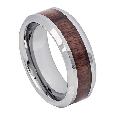 Mahogany Wooded Inlay Wedding Band   Men's   WEDDING BANDS