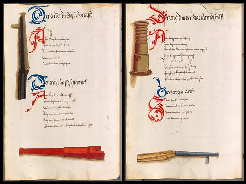 decorative initials and details of naive 15th cent. armaments