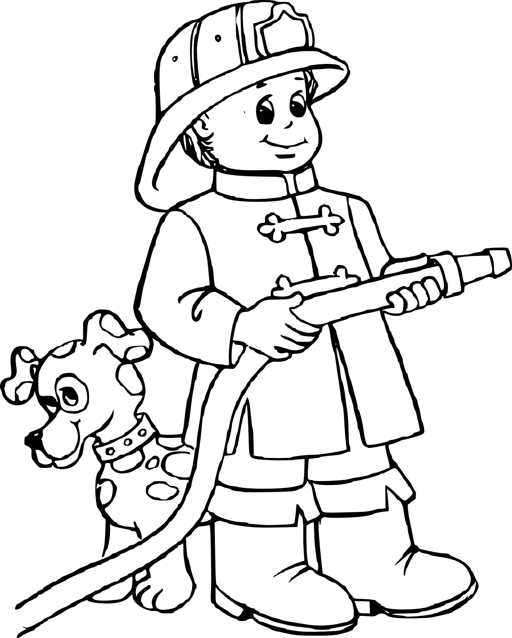 Coloriage Pompier Gratuit à Imprimer