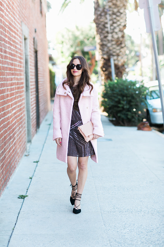 pink coat with sequin greylin dress by M Loves M