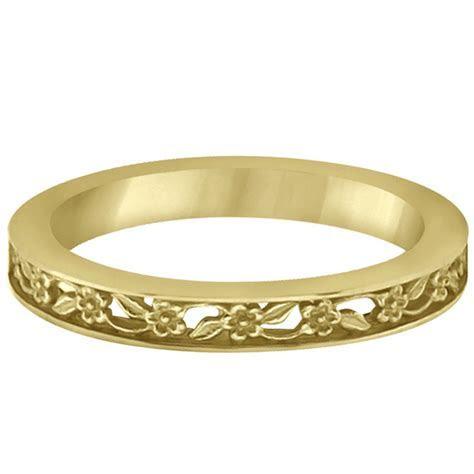 Flower Carved Wedding Ring Filigree Stackable Band 14k
