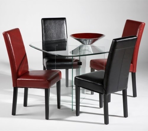 Chintaly X-Base 5 pc. Squared Glass Dining Table Set ...