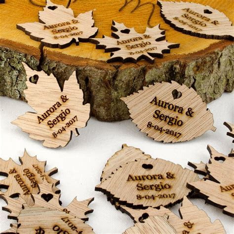 Personalised Wooden Leaf Table Decorations. Rustic or