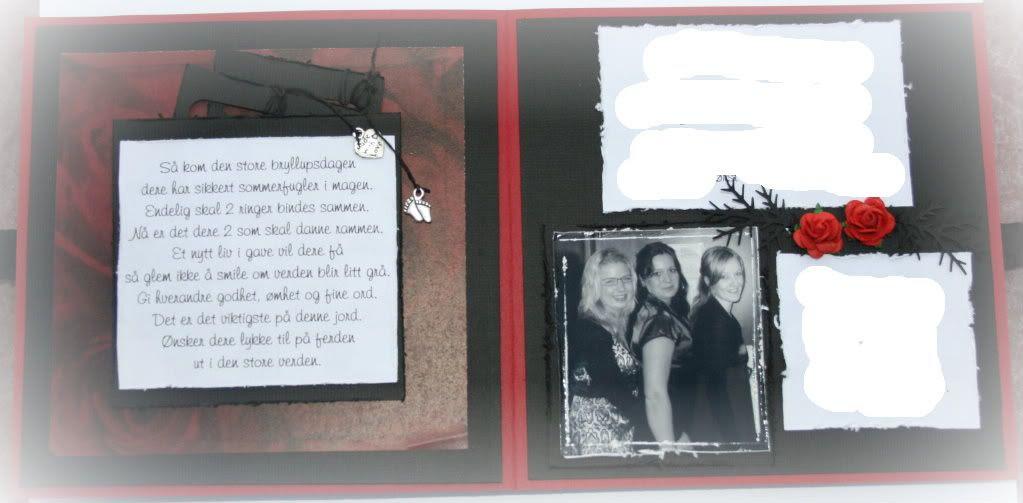 Innsiden - dikt om kjærlighet til venstre + 2 tags med dikt bakom Bilde av de to forloverne og bruden i midten