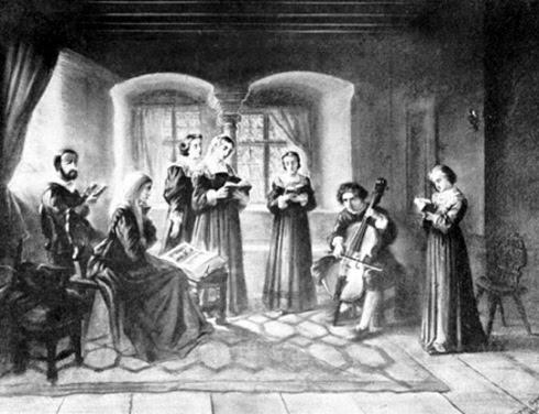 Famille protestante lisant la bible et chantant les Psaumes, vue au XIXe siecle