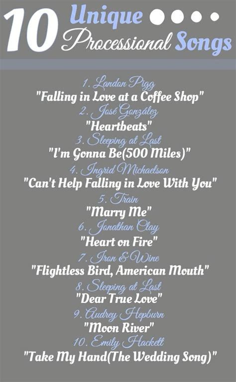 10 Unique Songs to Walk Down the Aisle To.    Wedding