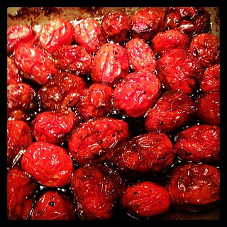 Roasted grape tomatoes!  Yum!