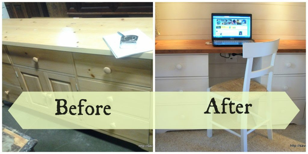 Dresser to Desk before and after