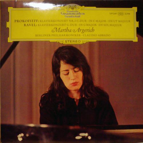 今、録音されたばかりの臨場感。そしてカラーの珍しいジャケット盤です。アルゲリッチとアバドのプロコフィエフ、ラベル:ピアノ協奏曲。