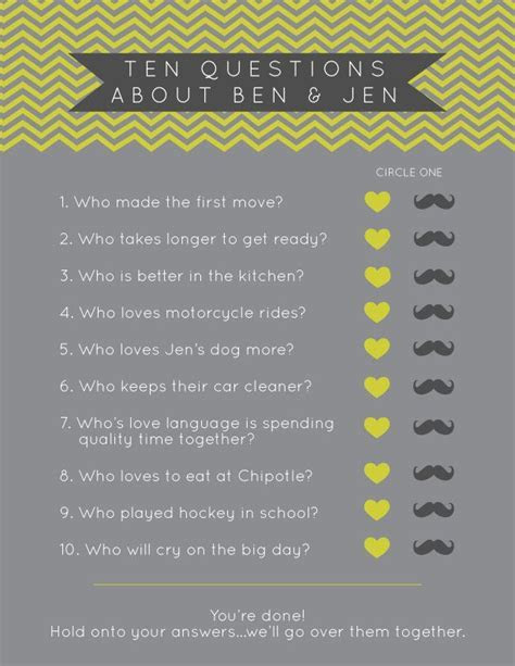 Bridal Shower Games // Chevron Designs // Ten Questions