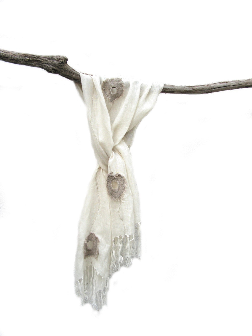 summer romantic shawl linen - frayed wheels - Scarf wrap natural - white linen - Eco linen scarf spring , summer -Feathering -  summer - EcoScarf