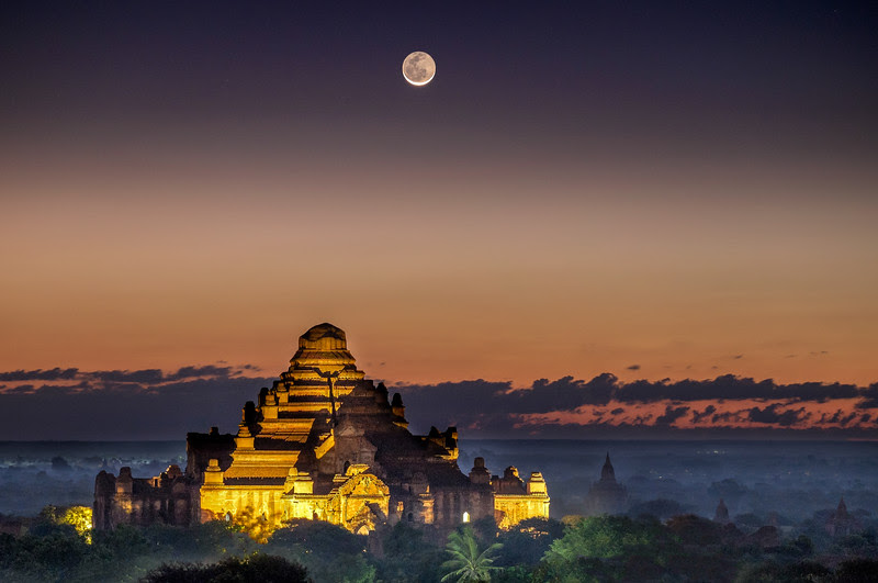 Moonrise over Dhammayan Gyi Temple,  Bagan