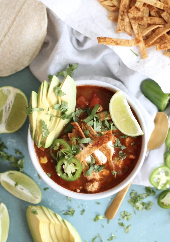 Turkey Tortilla Soup with Corn and Fire Roasted Tomatoes