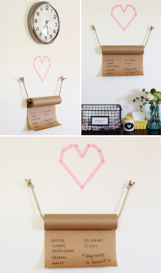DIY grocery list with kraft paper + rope