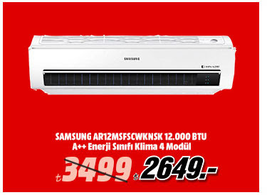 SAMSUNG AR12MSFSCWKNSK 12.000 BTU A++ Enerji Sınıfı Klima 4 Modül 2649TL