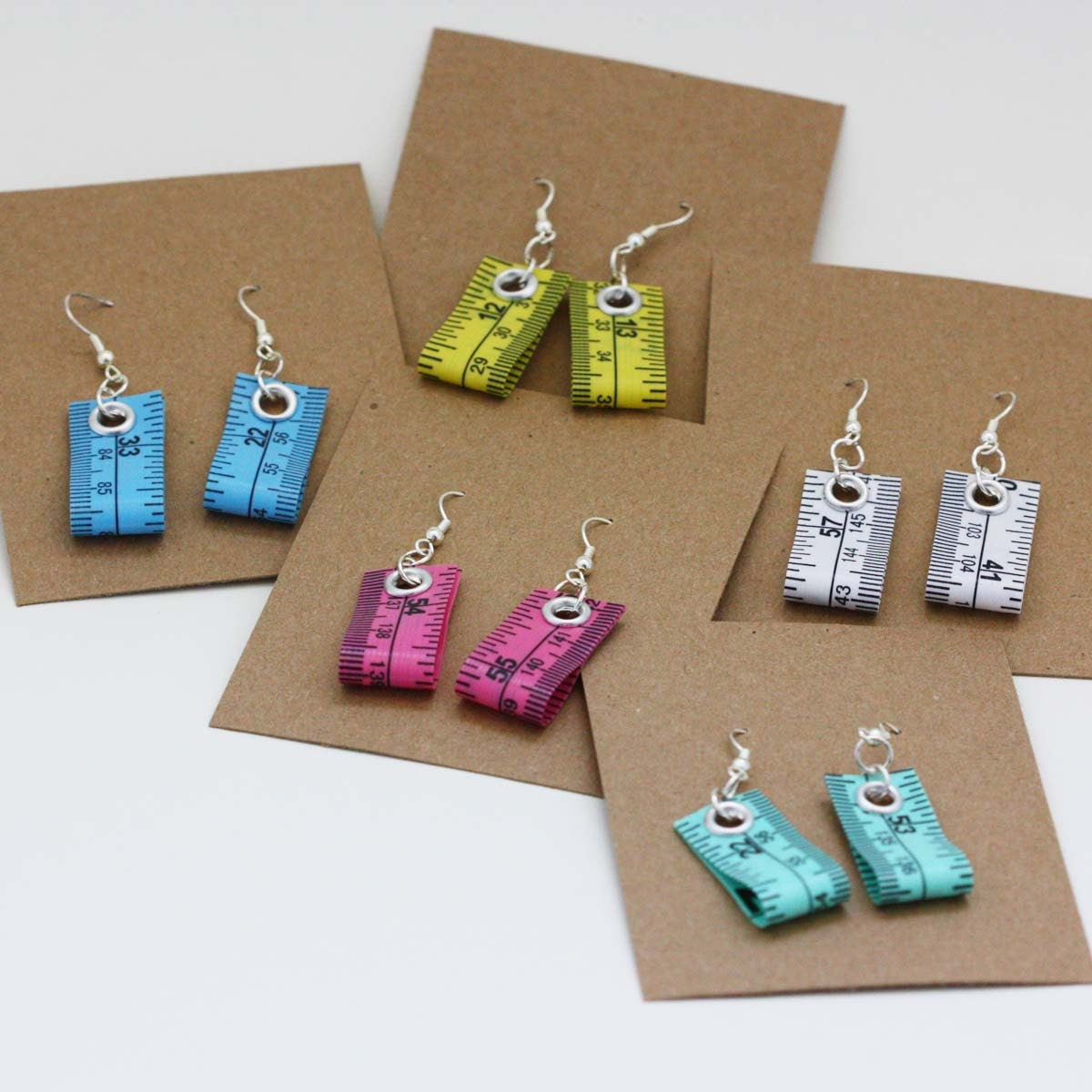 Five Pack of Tape Measure Earrings in Various Colors