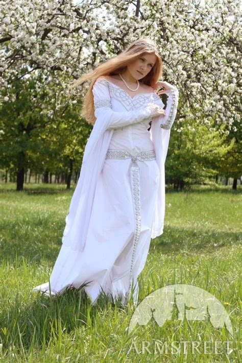 Exclusive white medieval wedding dress with handmade