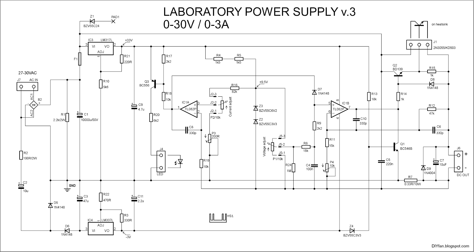 Adjustable Lab Power Supply 0 30v 0 3a
