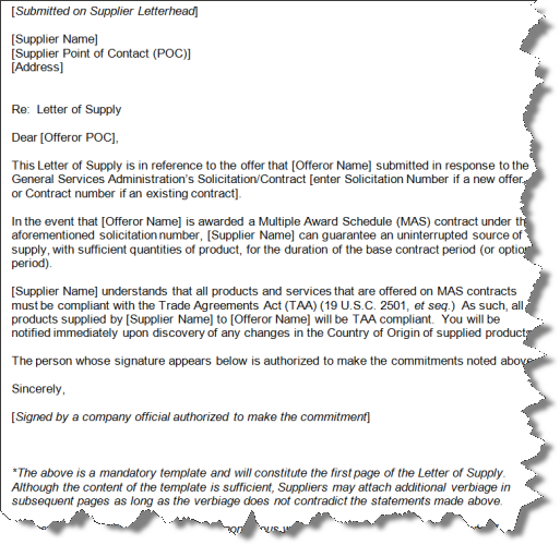 example of a gsa letter of supply letter of commitment