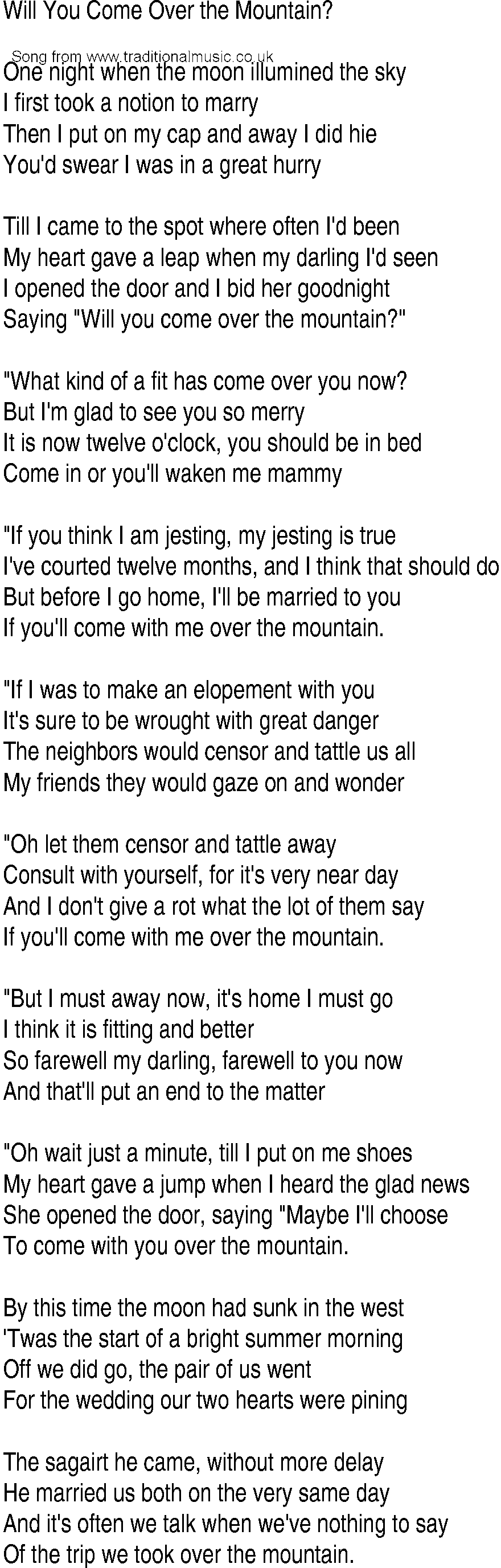 Irish Music Song And Ballad Lyrics For Will You Come