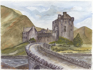 Eilean Donan Castle in watercolour by Ingrid Ormestad