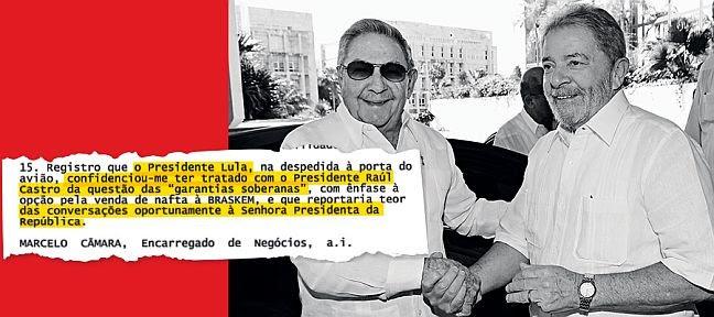 Lula em visita a Raúl Castro, em 2014. De uma reunião de Lula com a Odebrecht, saíram ideias para obter novos financiamentos (Foto:  Instituto Lula)