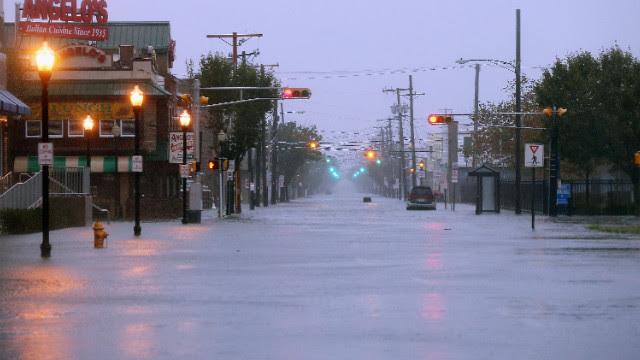 Water floods a street in Atlantic City.