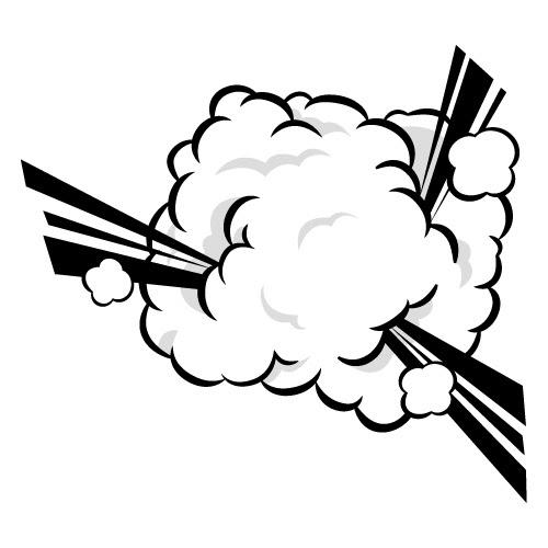 煙もくもくの爆発のイラスト 無料商用可能マンガ素材 イラレ用