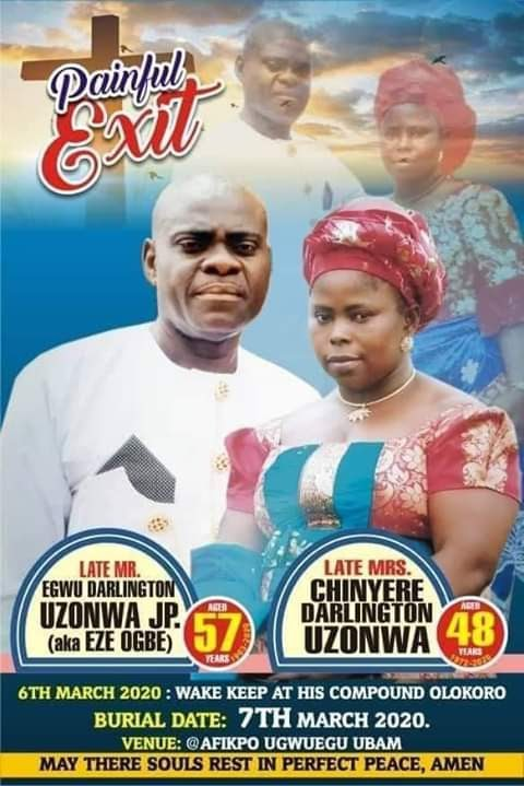 Couple Shot Dead By Armed Robbers In Front Of Their Children In Umuahia, Set To Be Buried [Photo]