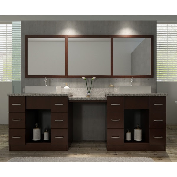 Roosevelt 97 Inch Double Sink Vanity Set In Walnut With Makeup Table Favorave